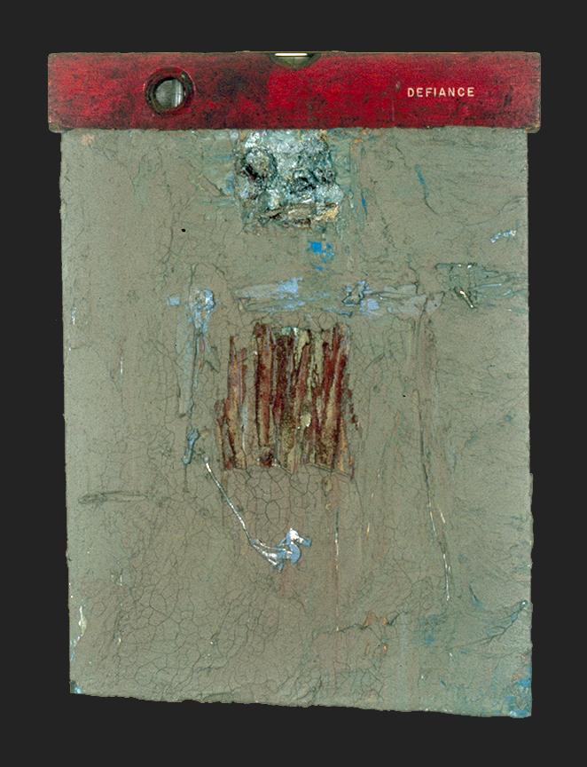 DEFIANCE; MM on wood, 16 x 12