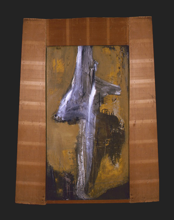 THE VEIL OF I AM; MM on canvas and wood, 48 x 28